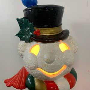 Vintage Ceramic Lighted Frosty Snowman